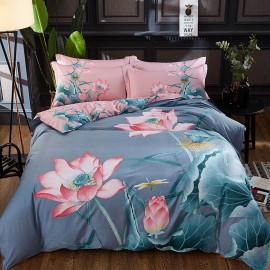 AIX Blossoming Water Lily Grey Bed Linen (YGM17016)