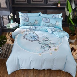 AIX Blooming Mirror Blue Bed Linen (YGM17017)