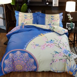 AIX East Meets West Floral Blue Bed Linen (YGM17022)