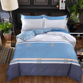 AIX Multitone Striped Blue Bed Linen (YGM17023)