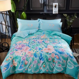 AIX Blossoming Peacock Blue Bed Linen (YGM17026)