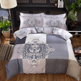 AIX Vintage Floral Plaid Grey Bed Linen (YGM17028)