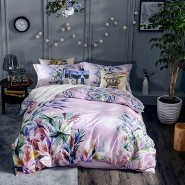 AIX Colourful Leafy Pattern Lilac Bed Linen (YGM17031)