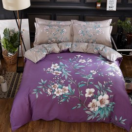AIX Two-Toned Floral Painting Purple Bed Linen (YGM17033)