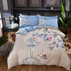 AIX Chinoiserie Floral Pattern Beige Bed Linen (YGM17036)