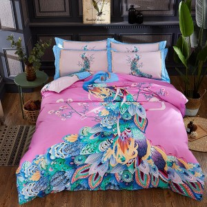 AIX Rainbow Peacock Pink Bed Linen (YGM17037)