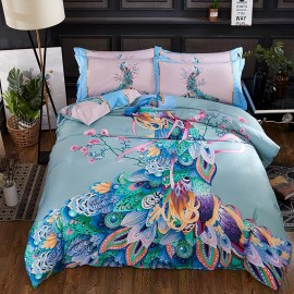 AIX Rainbow Peacock Blue Bed Linen (YGM17038)