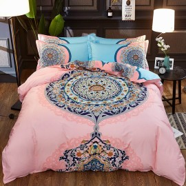 AIX Round Bohemian Pattern Pink Bed Linen (YGM17040)
