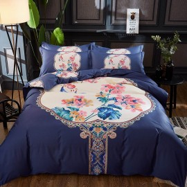 AIX Oriental Floral Print Navy Bed Linen  (YGM17044)