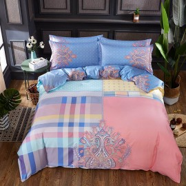 AIX Multitone Floral Plaid Pink Bed Linen (YGM17047)