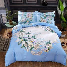 AIX Blooming Prints Blue Bed Linen (YGM17048)