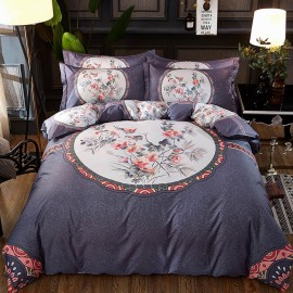 AIX Modern Oriental Floral Navy Bed Linen (YGM17054)