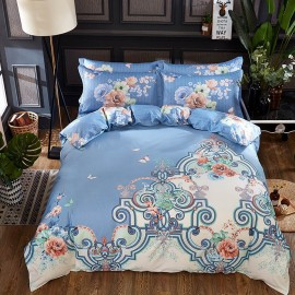 AIX Contemporary Rose Pattern Blue Bed Linen (YGM17058)