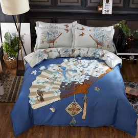 AIX Floral Chinese Fan Blue Bed Linen (YGM17060)
