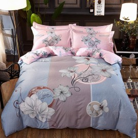 AIX Blossoming Floral Prints Blue Bed Linen (YGM17063)