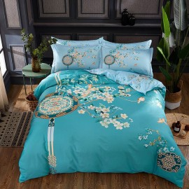 AIX Bird On Floral Branches Blue Bed Linen (YGM17065)