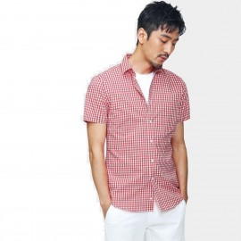 Basique Checked Short Sleeve Red Shirt (12.0038)
