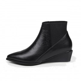 Jady Rose Pointed-Toe Leather Black Boots (18DR10564)