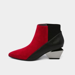Jady Rose Ankle High Patchwork Indented Heel Red Boots (18DR10576)