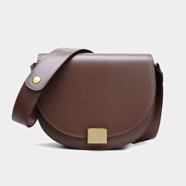 Cilela Semi-Circle Leather Saddle Brown Shoulder Bag (CK-001027L)