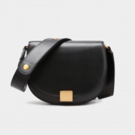 Cilela Semi-Circle Leather Saddle Black Shoulder Bag (CK-001027S)