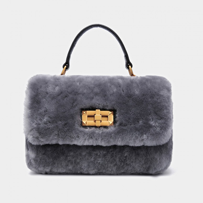 Cilela Metallic Wool Grey Satchel (CK-001029)