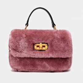 Cilela Metallic Wool Pink Satchel (CK-001029)