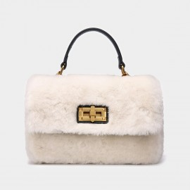 Cilela Metallic Wool White Satchel (CK-001029)