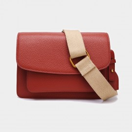 Cilela Foldover Leather Orange Shoulder Bag (CK-001033)