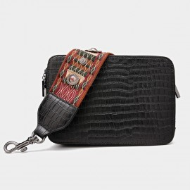 Cilela Reptile Wide-Strap Black Shoulder Bag (CK-001034)
