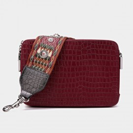 Cilela Reptile Wide-Strap Wine Shoulder Bag (CK-001034)