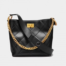 Cilela Metallic Chain Leather Black Tote (CK-001036L)