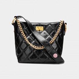 Cilela Metallic Chain Patent Leather Black Tote (CK-001036PL)