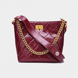 Cilela Metallic Chain Patent Leather Wine Tote (CK-001036PS)