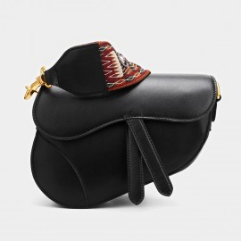 Cilela Oblique Black Shoulder Bag (CK-001202)