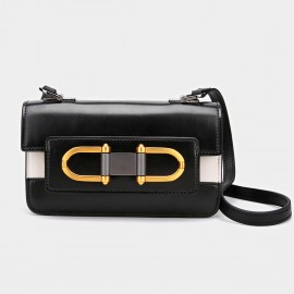 Cilela Symmetric Ring Black Shoulder Bag (CK-001205)