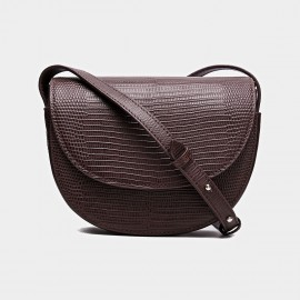 Cilela Saddle Patent Leather Coffee Shoulder Bag (CK-001216)
