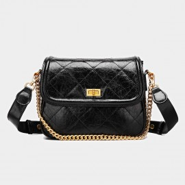 Cilela Twist-Lock Diamond Black Satchel (CK-001218)