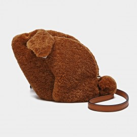Cilela Fluffy Rabbit Brown Shoulder Bag (CK-01023)