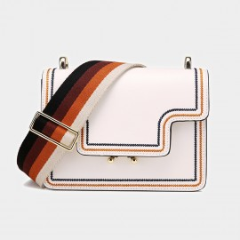Cilela Colourful Wide-Strap White Shoulder Bag (CK-0807)