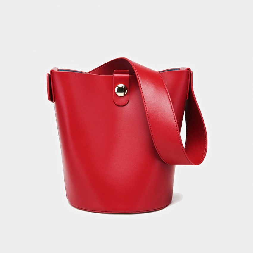 Cilela Bucket Leather Red Tote (CK-0816)