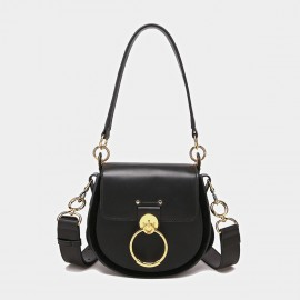 Cilela Saddle Ring Black Shoulder Bag (CK-0828)