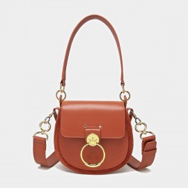 Cilela Saddle Ring Brown Shoulder Bag (CK-0828)