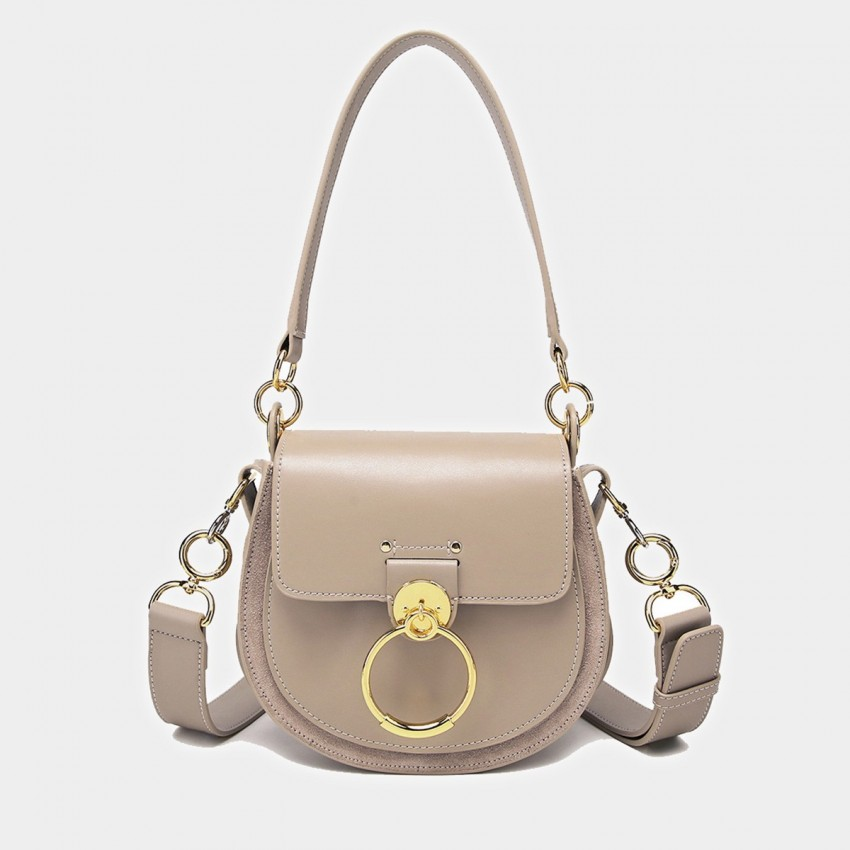 Cilela Saddle Ring Apricot Shoulder Bag (CK-0828)