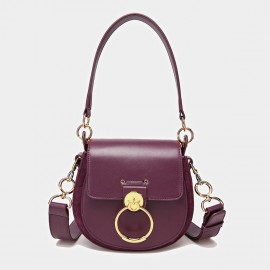 Cilela Saddle Ring Wine Shoulder Bag (CK-0828)
