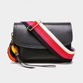 Cilela Colorful Striped-Strap Black Shoulder Bag (CK-1006)