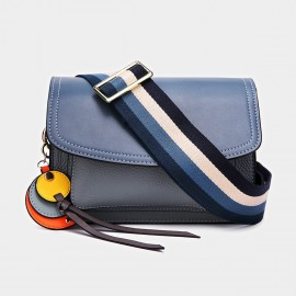 Cilela Colorful Striped-Strap Blue Shoulder Bag (CK-1006)
