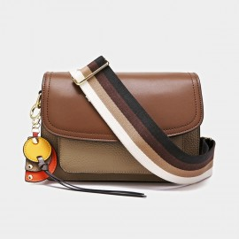 Cilela Colorful Striped-Strap Brown Shoulder Bag (CK-1006)