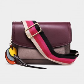 Cilela Colorful Striped-Strap Wine Shoulder Bag (CK-1006)