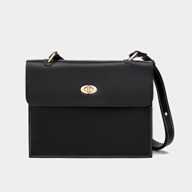Cilela Classic Twist-Lock Black Satchel (CK-1015)